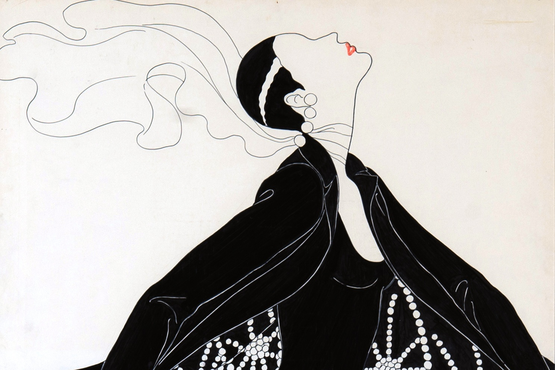 Fashion Study, American Vogue Seminar, Pat Cleveland_Amina Warsuma, c. 1972. Pentel and cello-tak on paper_04.jpg