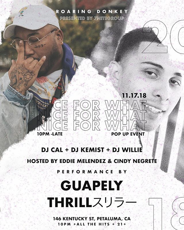 Ya'll ready for Tonight?  #niceforwhatpopupevent  With squad @dj_willie, @dj_kemist, @nuthrill, @cindy.negrete @guapely_  activities start 10pm #djlifestyle #dj #7nitegroup #sonomacounty #nightlife #petaluma