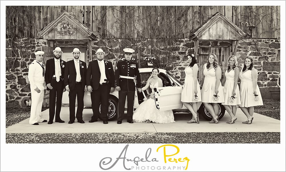 Copy of vintage details in a group shot in front of the historic barn