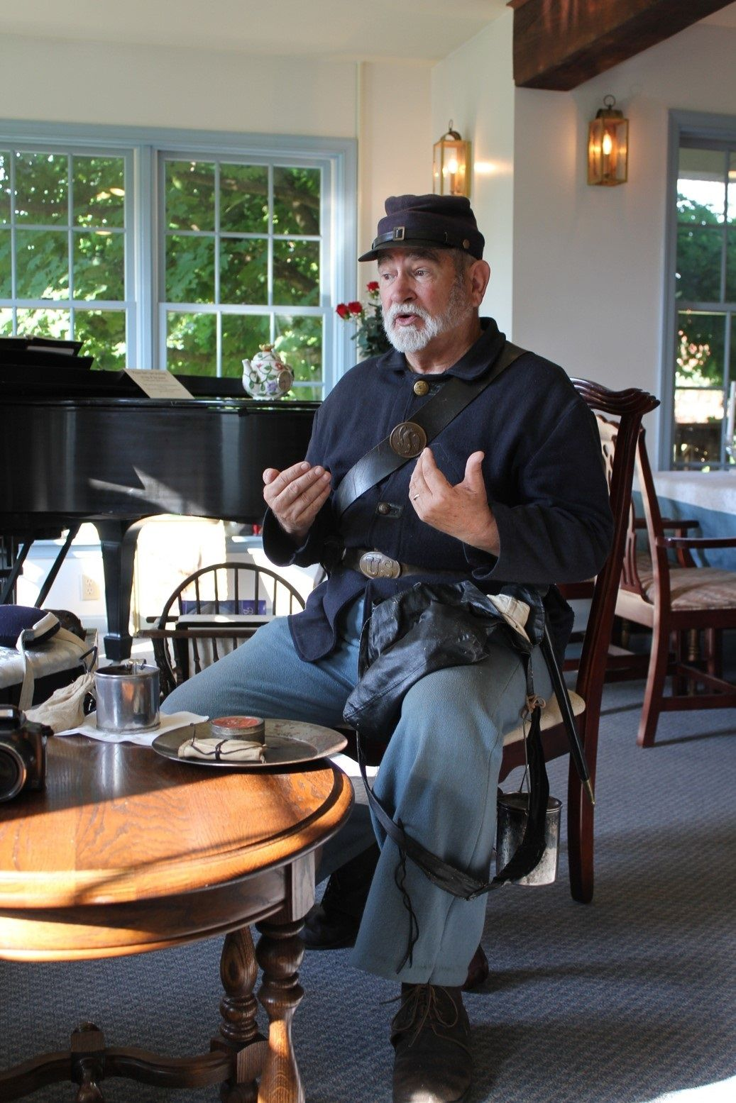 Mike Chambers during a morning history program at Battlefield Bed and Breakfast Inn