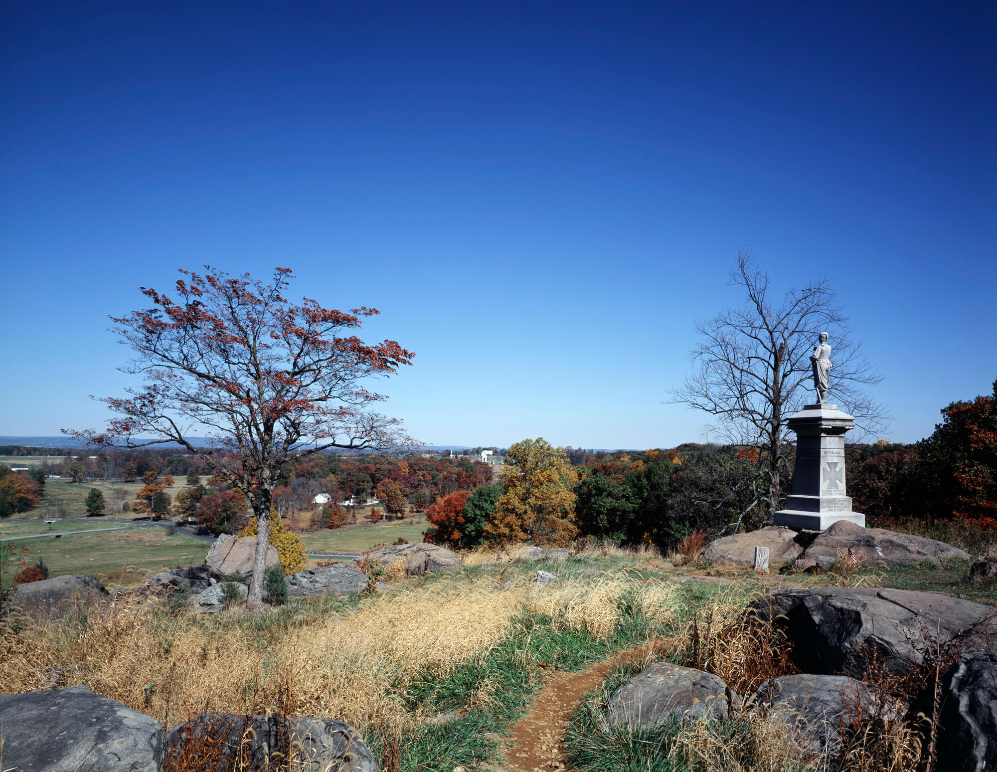A beautiful fall view from the top of Little Round Top in the Gettysburg National Military Park