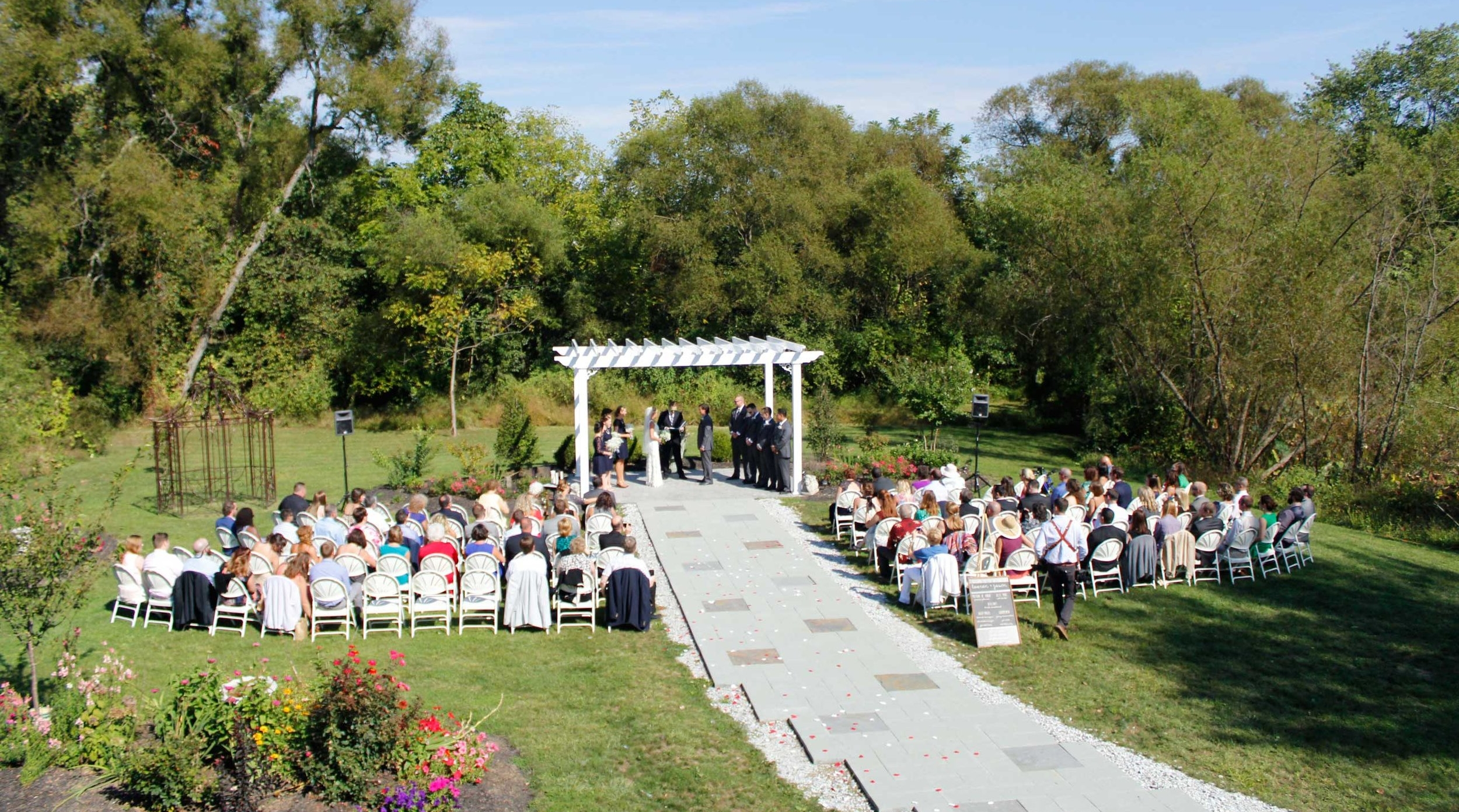 The Wedding Garden and Pergola outdoor wedding venue at Battlefield Bed and Breakfast Inn, Gettysburg, PA