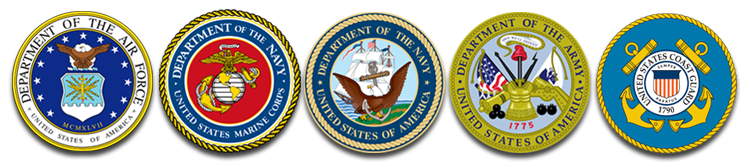 The Official Seals of the Department of the Air Force, The Department of the Navy - US Marine Corps, The Department of the Navy, The Department of the Army, and The United States Coast Guard.