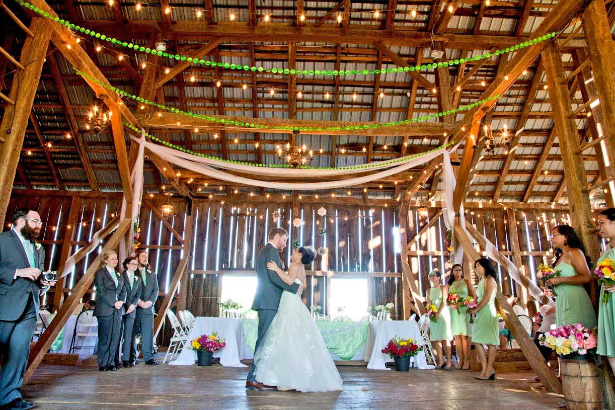 A Wedding reception in the Historic Barn Wedding and Event Venue at Battlefield Bed and Breakfast Inn, Gettysburg, PA