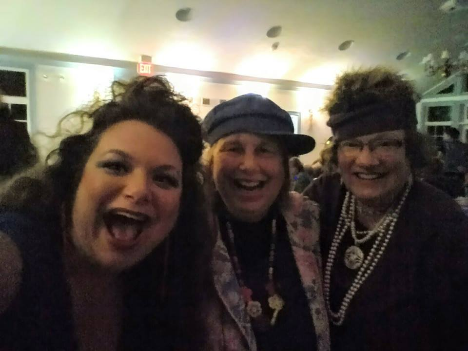 Connie, Florence and Debbie sporting 80's costumes for the B&B's annual New Year's Eve murder mystery dinner party.