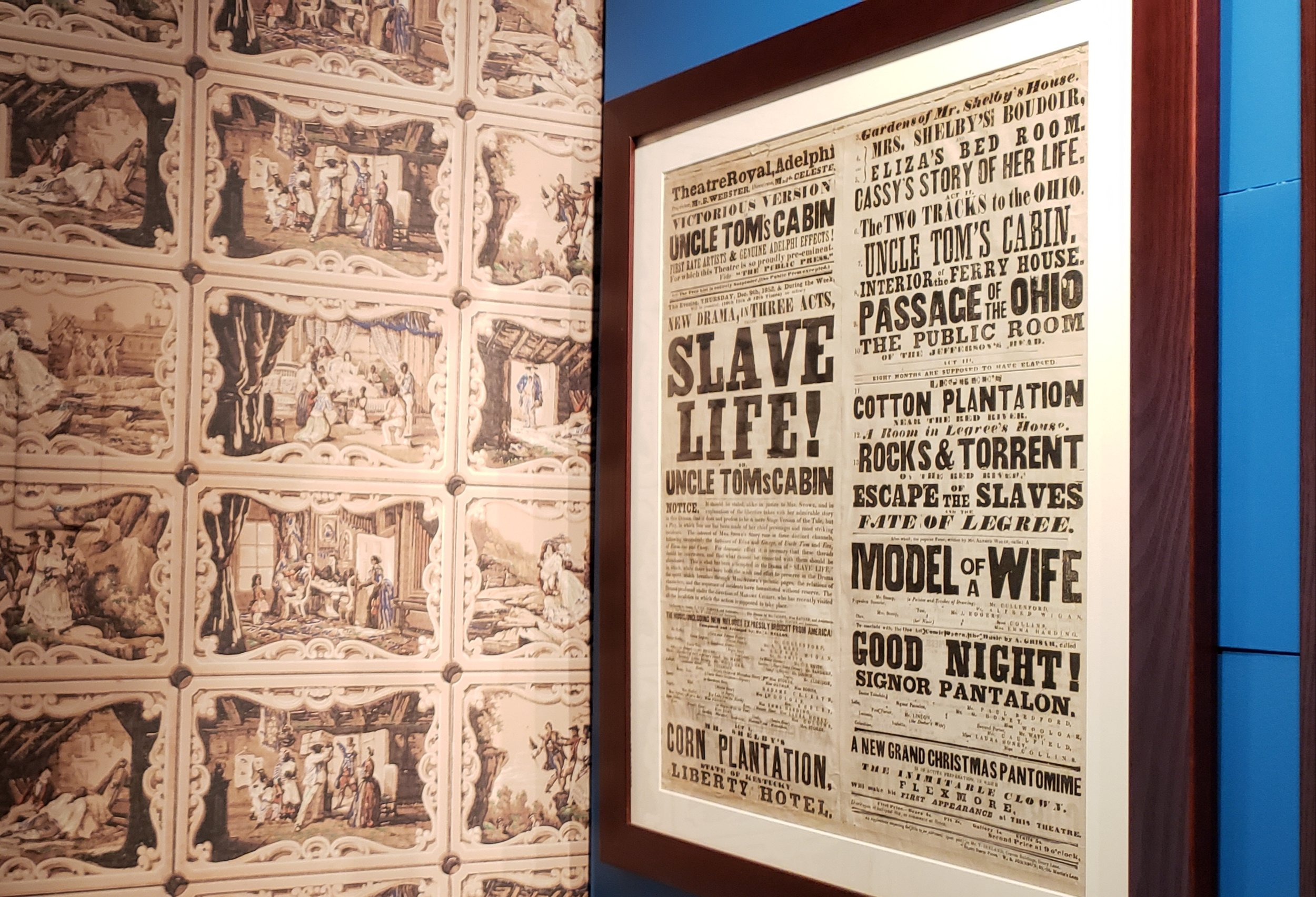 Harriet Beecher Stowe House wallpaper with illustrations from Uncle Tom's Cabin and poster for Uncle Tom' Cabin play. Stowe's writing stirred antislavery compassion before and during the Civil War.