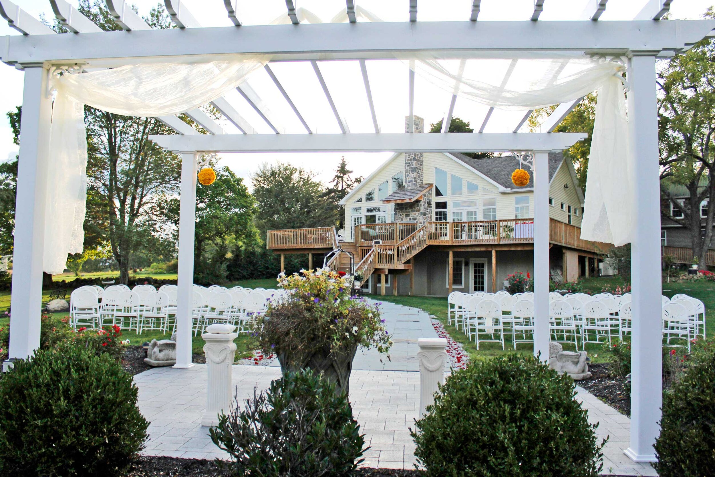 Formal Wedding Garden & Pergola - Make a dramatic entrance from the Solarium staircase to the stone path as your beloved awaits you at the pergola.