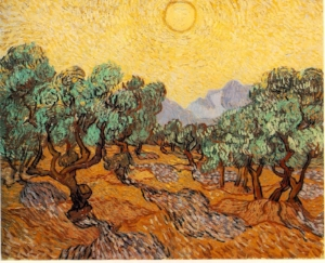 Vincent Van Gogh Olive Trees with Yellow Sun