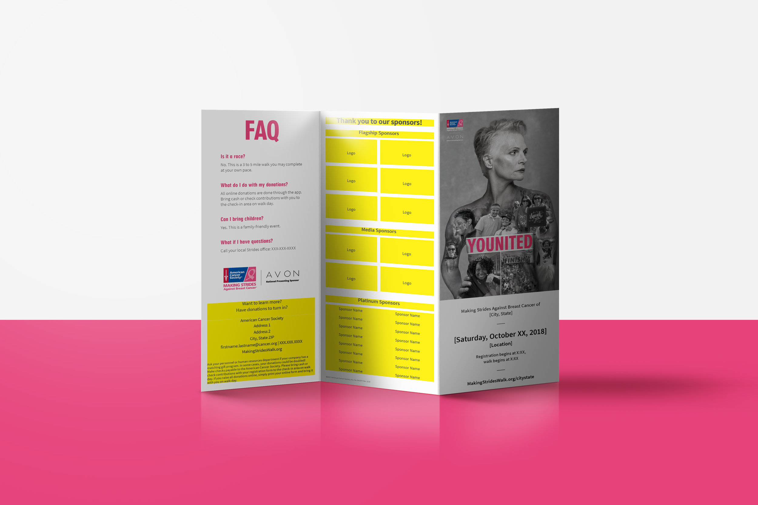 Tri-fold Brochure | American Cancer Society | Making Strides Against Breast Cancer Campaign 2018