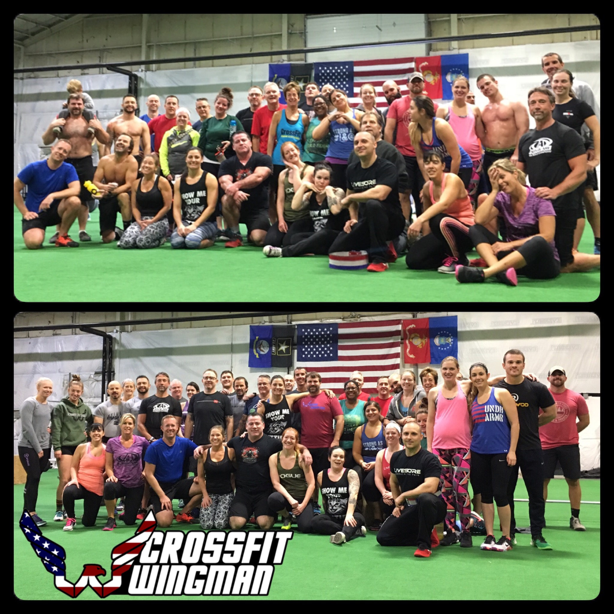 Before & After the Thanksgiving Day WOD  We are always so happy to spend the Holidays with our Wingman Family :)