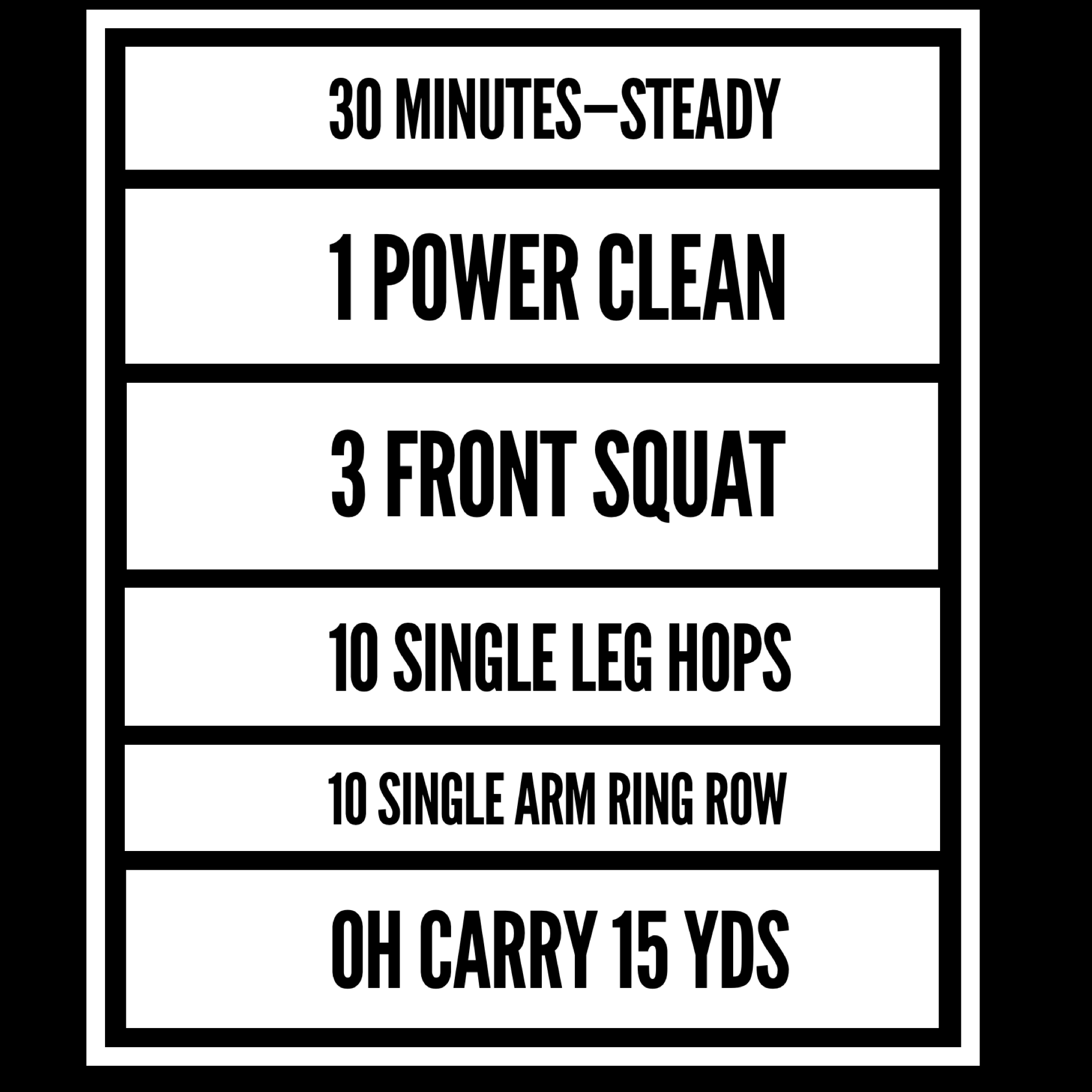 there are 2 goals for this workout::  1- steady pace throughout, heavy breathing while able to hold conversation.    2- when it's time to pick up the bar, you do not hesitate.    Power Clean - 65-75% ish  Front Squat - same bar  Single leg hops are up to a 45# plate for everyone, and it is 10 each leg. Scale down to a 25# plate or even just forward and back over a crack on the floor.    Single Arm Ring Row - mark your spot on the floor with a plate ... Rx is with feet directly underneath the rings, scale back from there for consistency.    OH Carry - 55/35 dumbbell or kB,  15 yds down with one arm, 15 yds back with other arm.