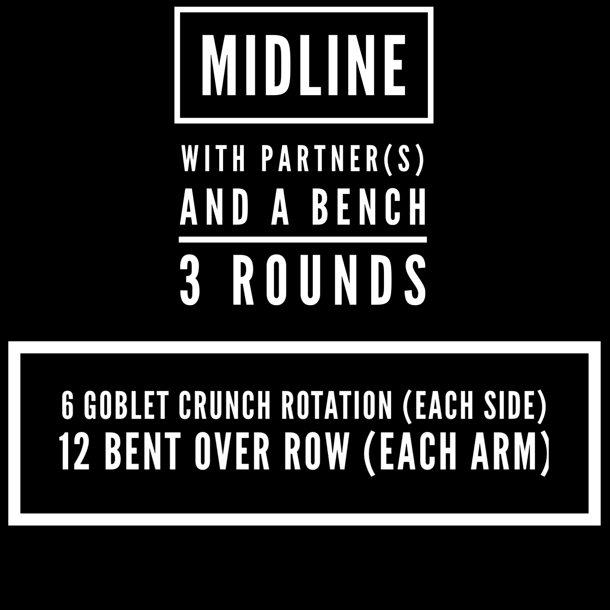 the crunch rotation is performed laying down on a bench with a kettlebell in hand just in front of the chest and feet locked underneath the bench. Rotate right, then left while holding the crunch position. Pace reps for a total hold of 20+ seconds  bent over row is performed with a kettlebell, one side at a time, rotation allowed for use of heavier weight.