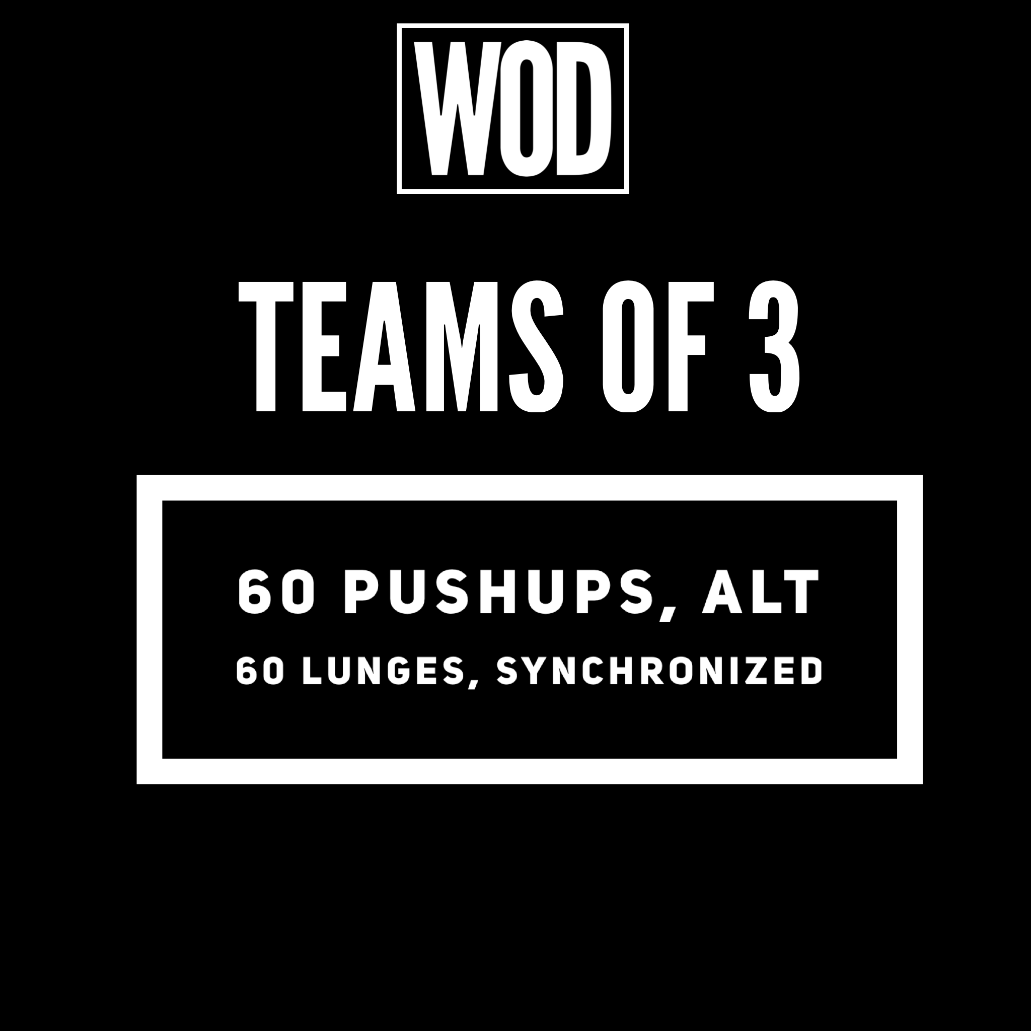 """pushups - all 3 team members will be in and remain in a plank. One person will start with a push-up, then the next will complete one and so on and so forth, alternating until All reps are complete. Level 3 does pushups on 25# plates 😈  The lunges are synchronized. If you feel mismatched from a performance perspective as a team, weigh down the faster person with a kB or scale the movement to a 16"""" step up. :)"""