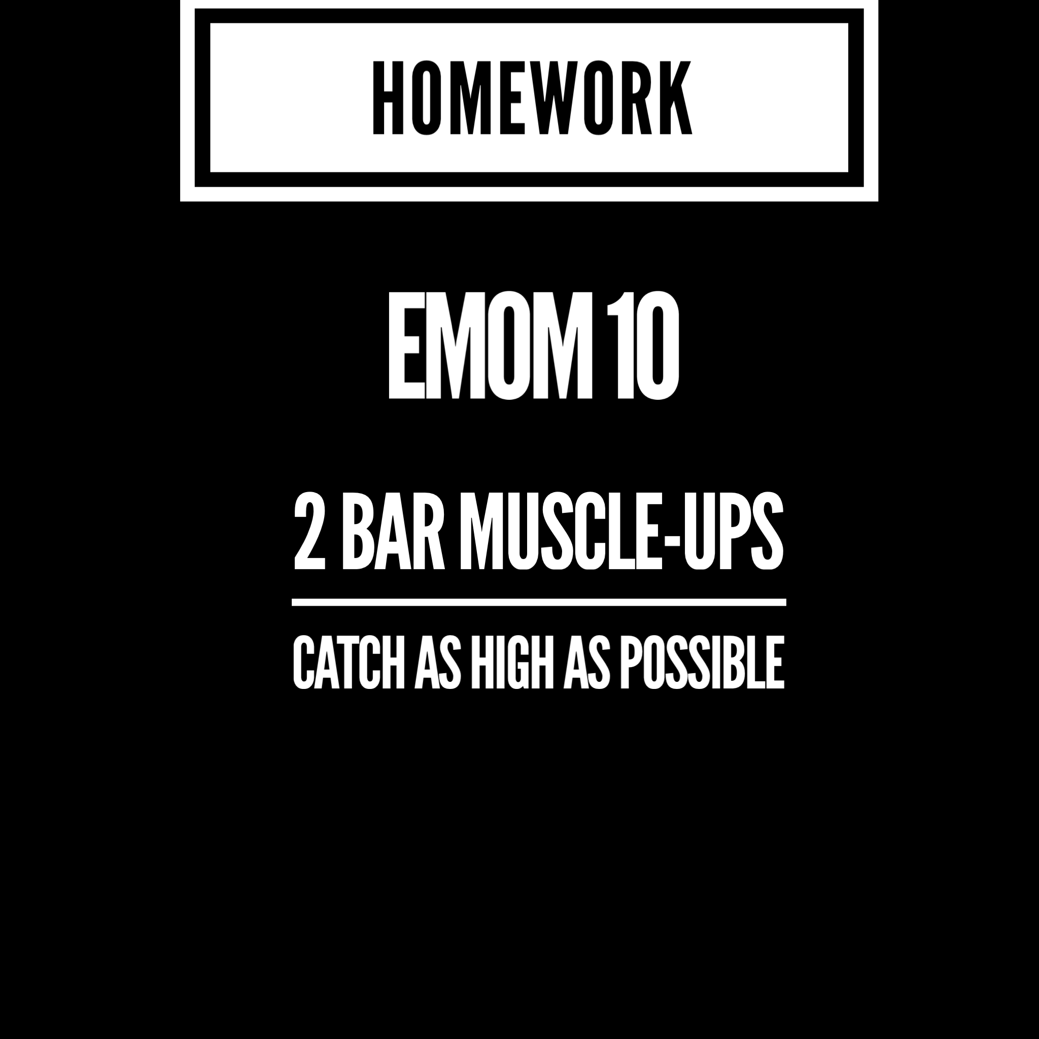 Or 2 Chest 2 Bar Pullups with as smooth a transition as possible. (Try butterfly for the first time). Make it two of the more difficult variation you are capable of on the bar.