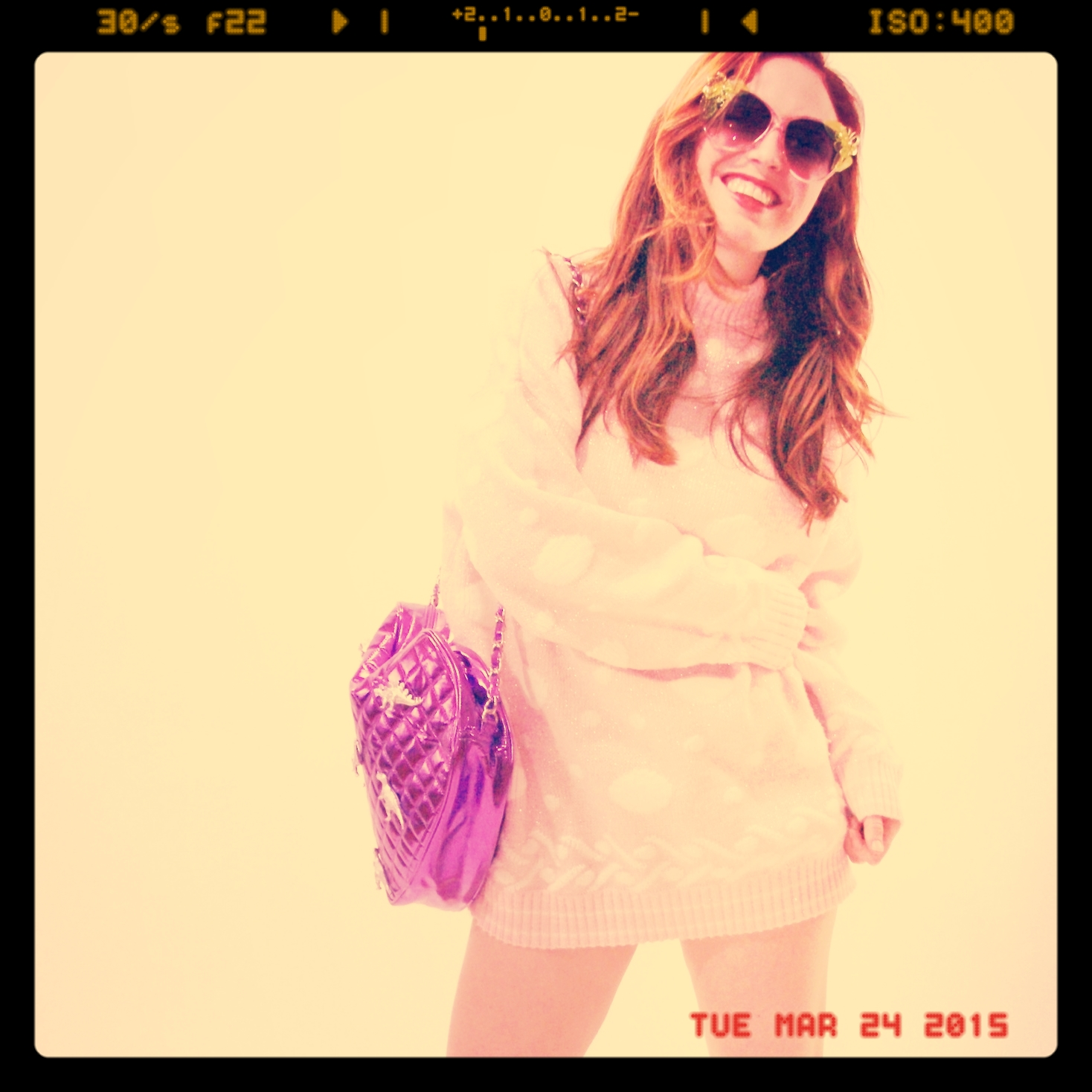 Pretty in Pink Sweater   $25,  Electric Daisy Sunnies  $32,  The Dino-Love Messenger Bag  $36