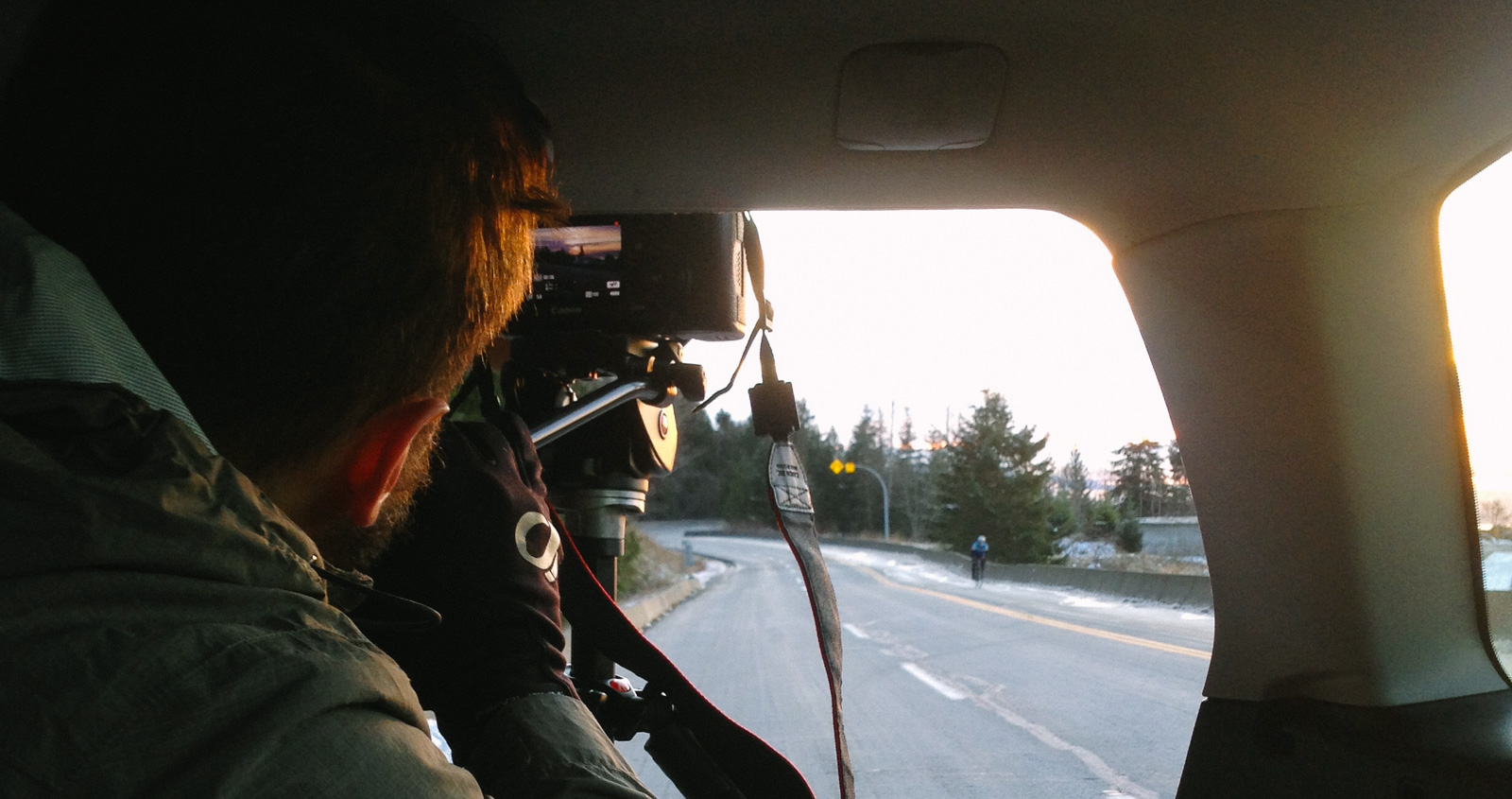 The car was a big asset when shooting moving shots of our rider, Brett.