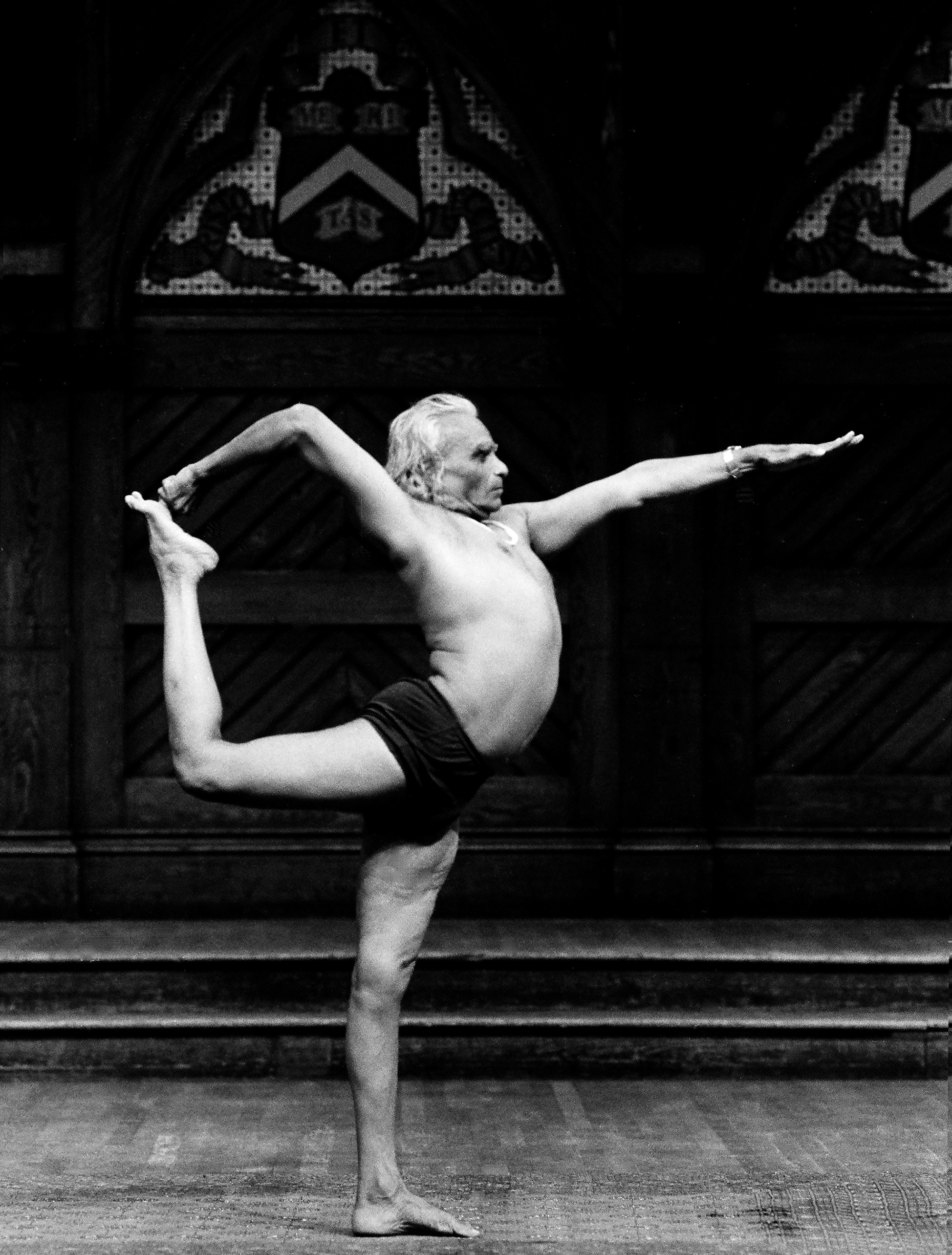 B.K.S. Iyengar photographed at Yoga '87, Harvard University, 1987 by Peter Schweitzer