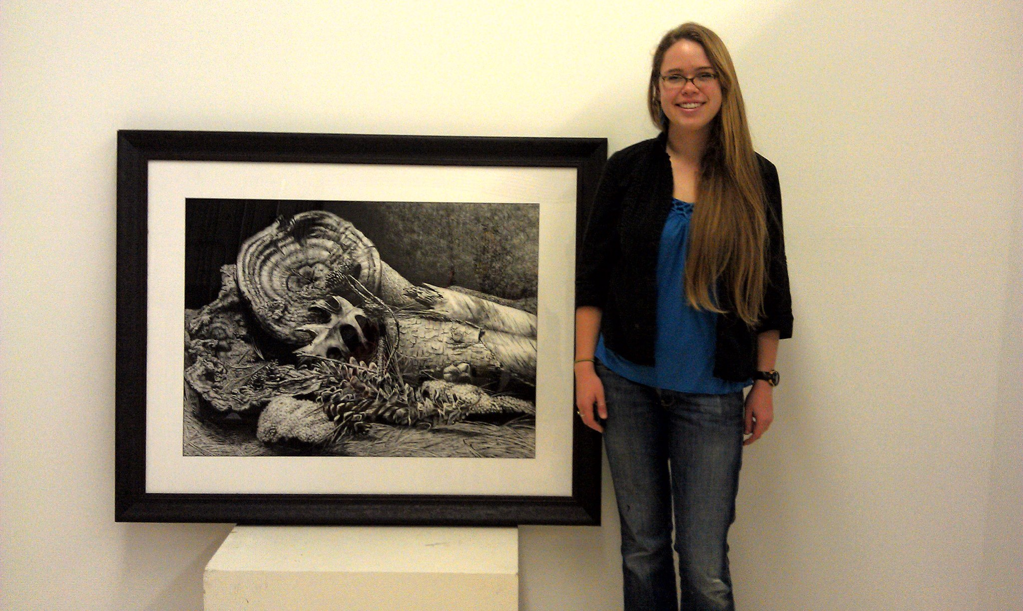 """Shannon with her piece, """"White Pine,"""" part of the  2013-15   NC Community Colleges  50th Anniversary Special Edition   Art Exhibition ."""