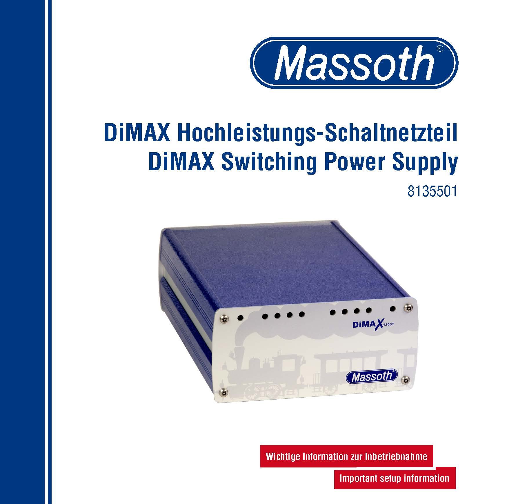 8135501 Massoth DiMax 1200T Switching Power Supply User's Manual 2014-09