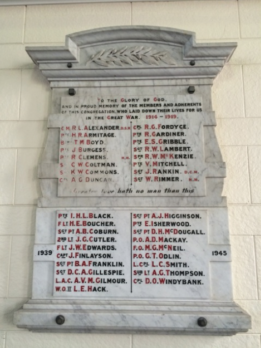 WWI and WWII memorial to members and adherents of the Congregation