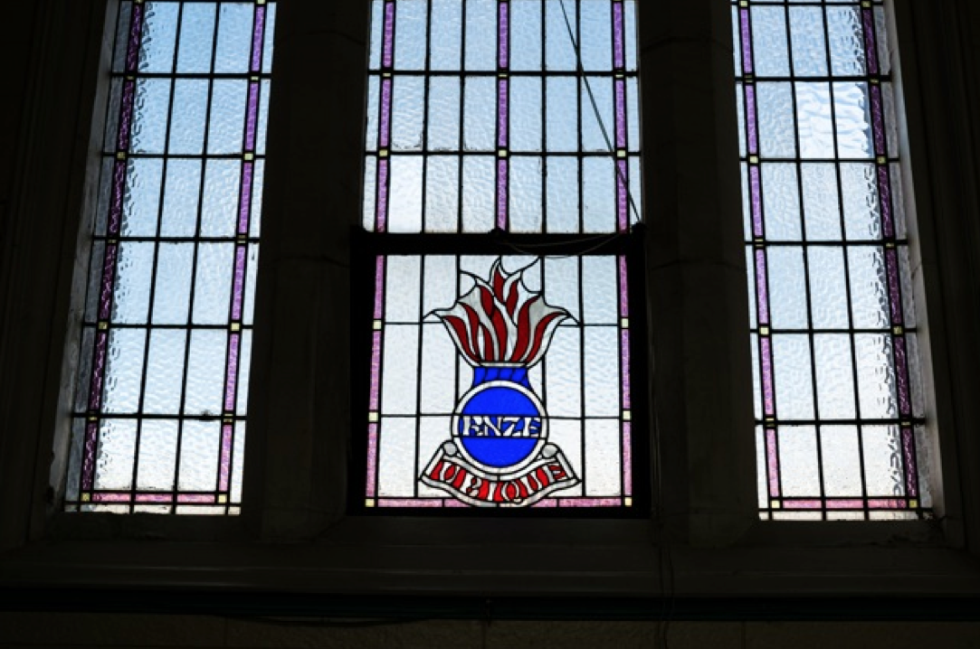 Royal New Zealand Engineers' memorial window in the Sappers Memorial Chapel. Photography: Jonathan Suckling