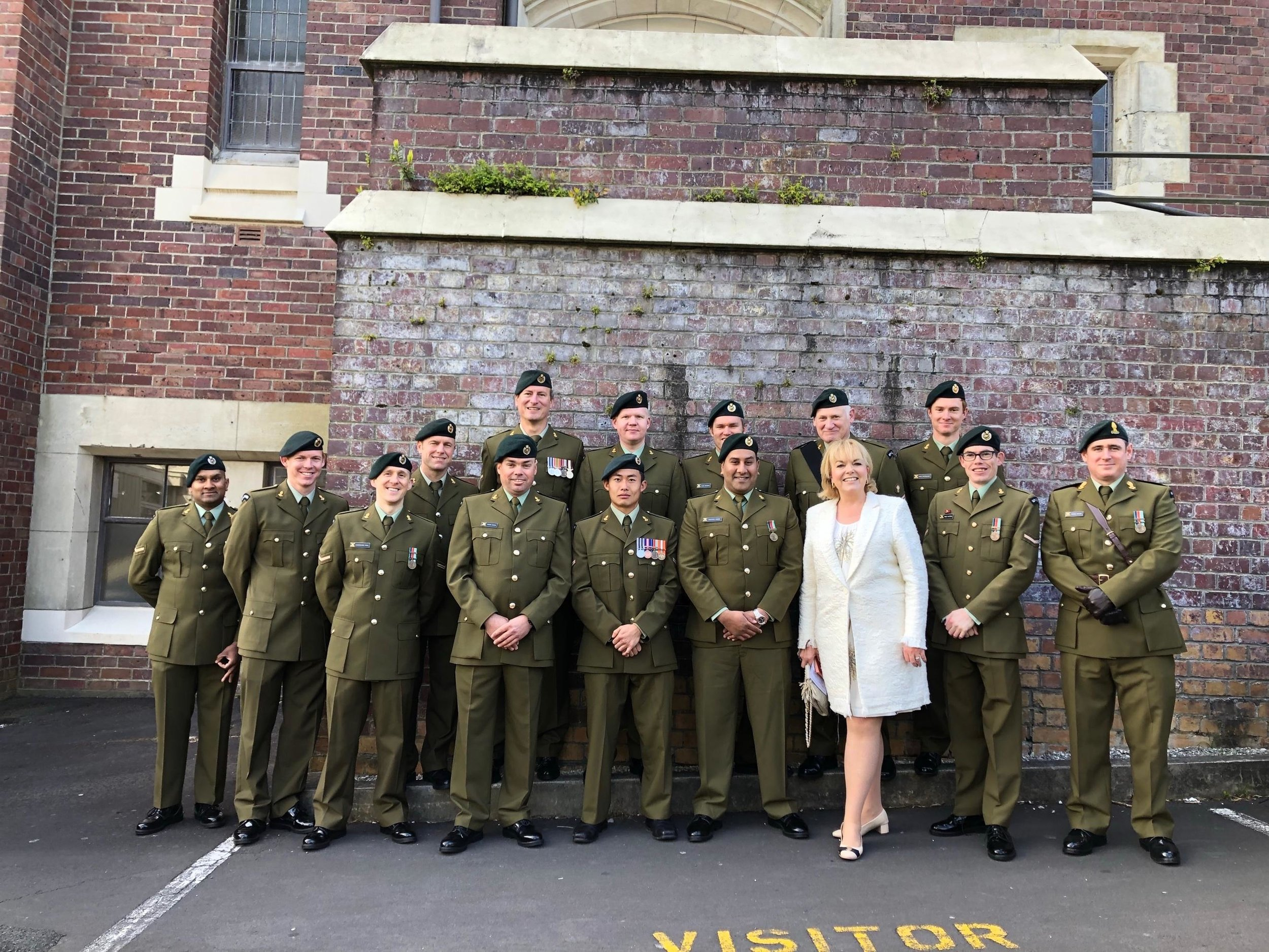 Members of the RNZE / New Zealand Sappers together with the Hon Judith Collins whose father was a sapper.