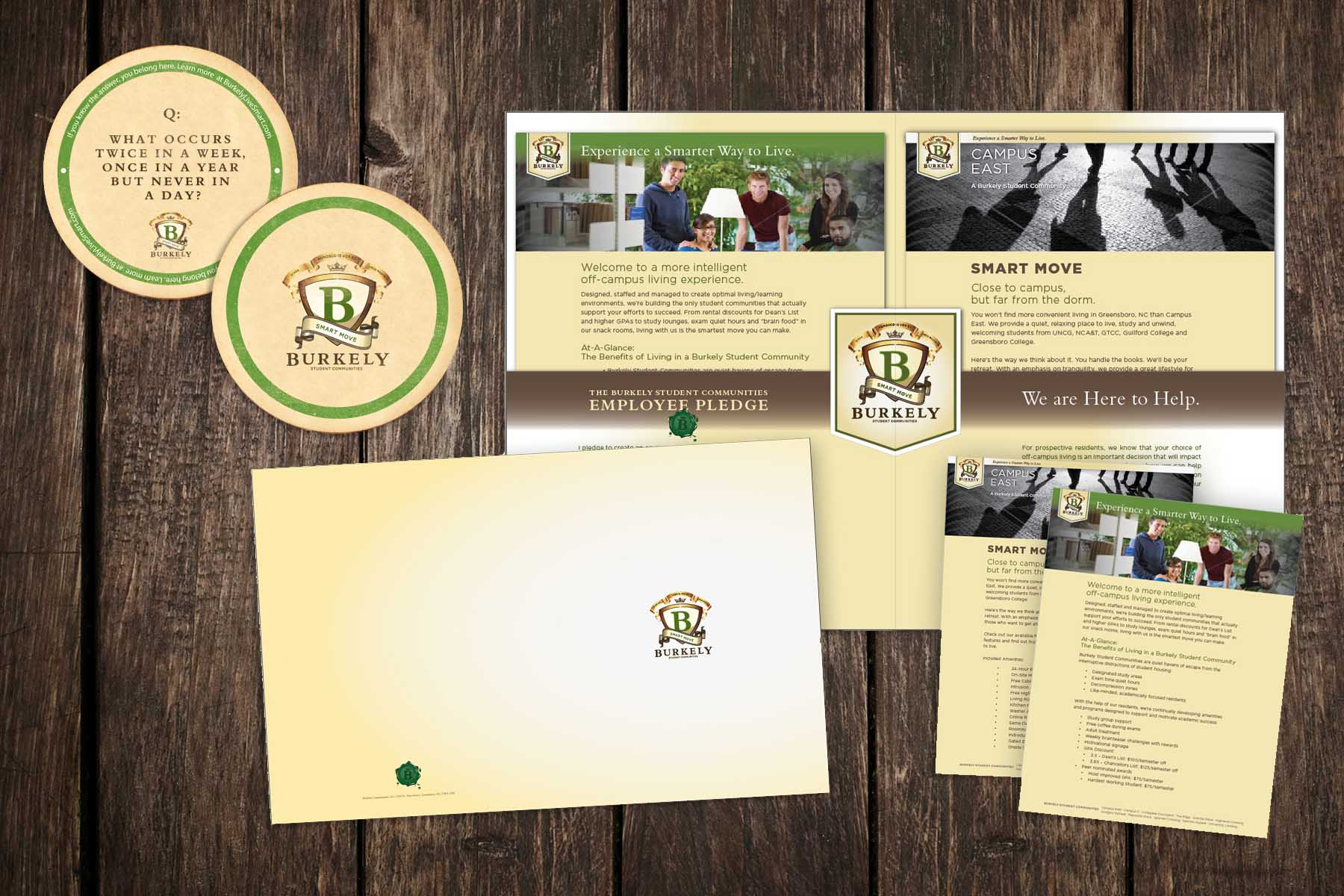 Burkely Student Communities - Logo design, Coasters, Information Packets, Card, Pocket Folder