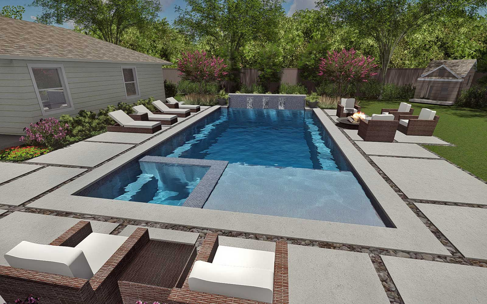 DESIGN - Design matters. We help create an exceptional level of design and detail for your custom pool project. Using 3D drawings and animations, we can bring your project to life and help visualize exactly what the finished project will look like. Jim's education in Landscape Architecture and his emphasis on design can help you create the perfect design to fit your property, family's needs and your budget.