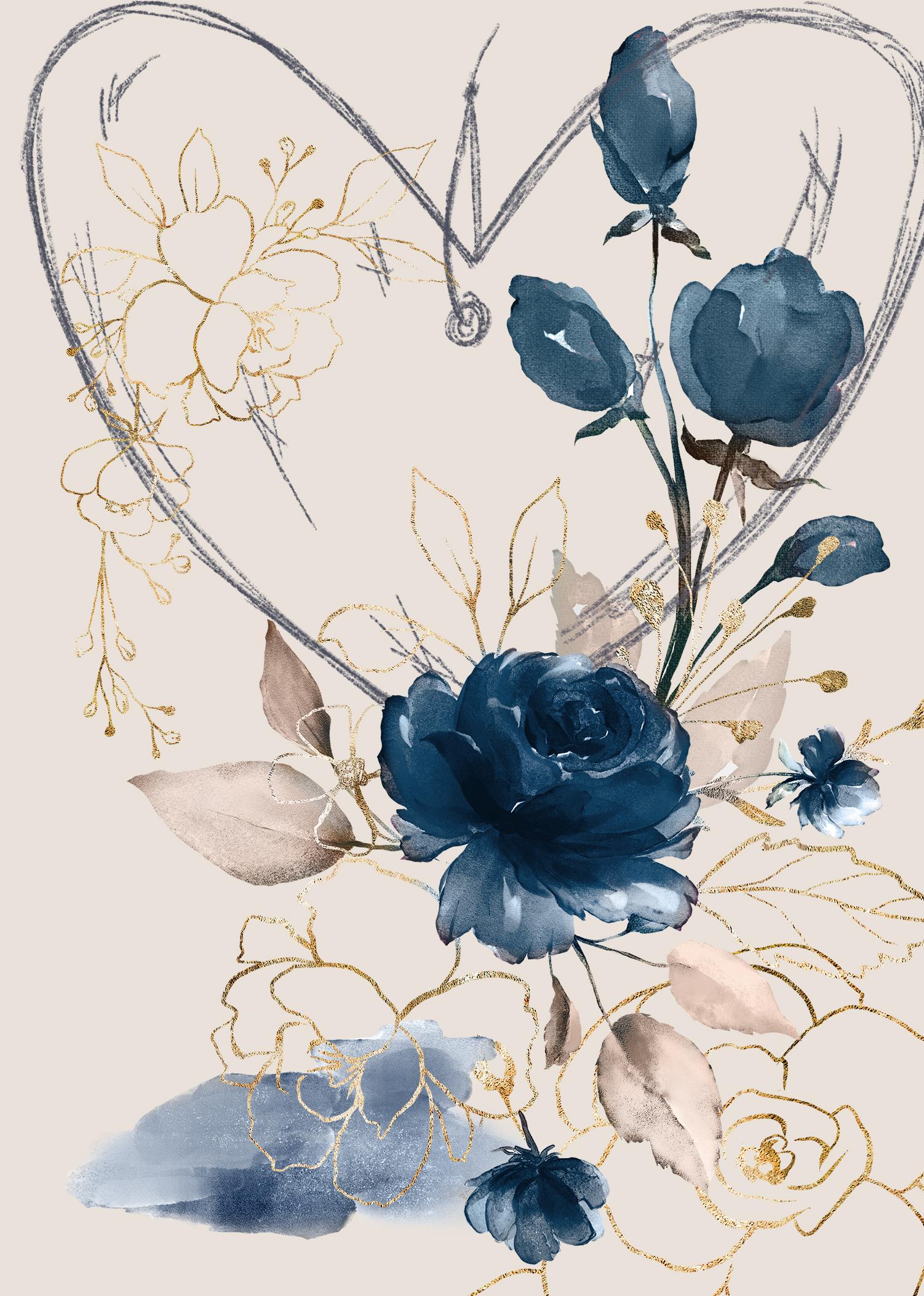 Heart Blue Roses