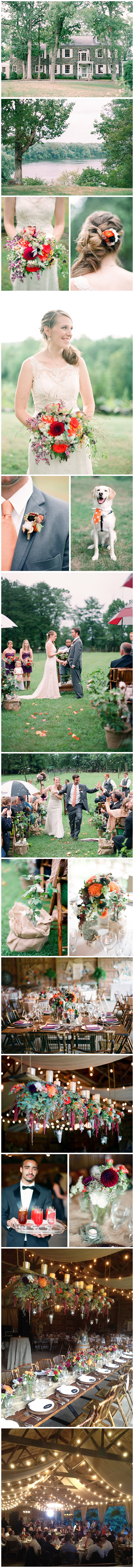 With a setting reminiscent of a secret garden,   this outdoor affair was wispy and soft in style and full of deep, vibrant hues. To offset the majestic plum of the bridesmaids' dresses, a palette of orange, crimson and lavender graced the floral centerpieces and bouquets, while plum accents brightened farmhouse-style tables. Candles and twinkle lights accented bare barn beams and sweeping fabric draping brought an air of grace to the rustic space. Images by Julie Massie.