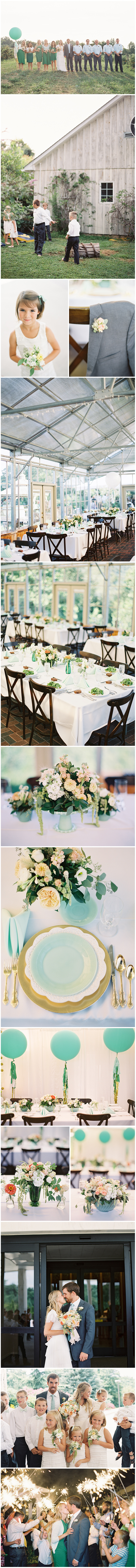 Though this was a relaxed, rustic affair,   the doting couple didn't skimp on style. From bud vases to balloons, a pale Tiffany blue boasted preeminence in the color palette, accentuated with coral,peach and barely there blushes and nudes. Vintage dishes layered on golden chargers at each place setting made lovelytablescape vignettes amidst clusters of fresh garden florals.  Images by Anne Robert.