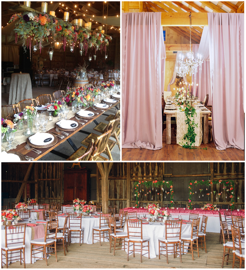 Top Left     Murray Hill 's chic barn reception venue ;  Top Right  Lovely  Shadow Creek Events & Weddings  ballroom, photographed by   Jodi Miller Photography  ;    Below     Riverside on the Potomac 's spacious barn-style structure, photographed by     Photography Du Jour   .