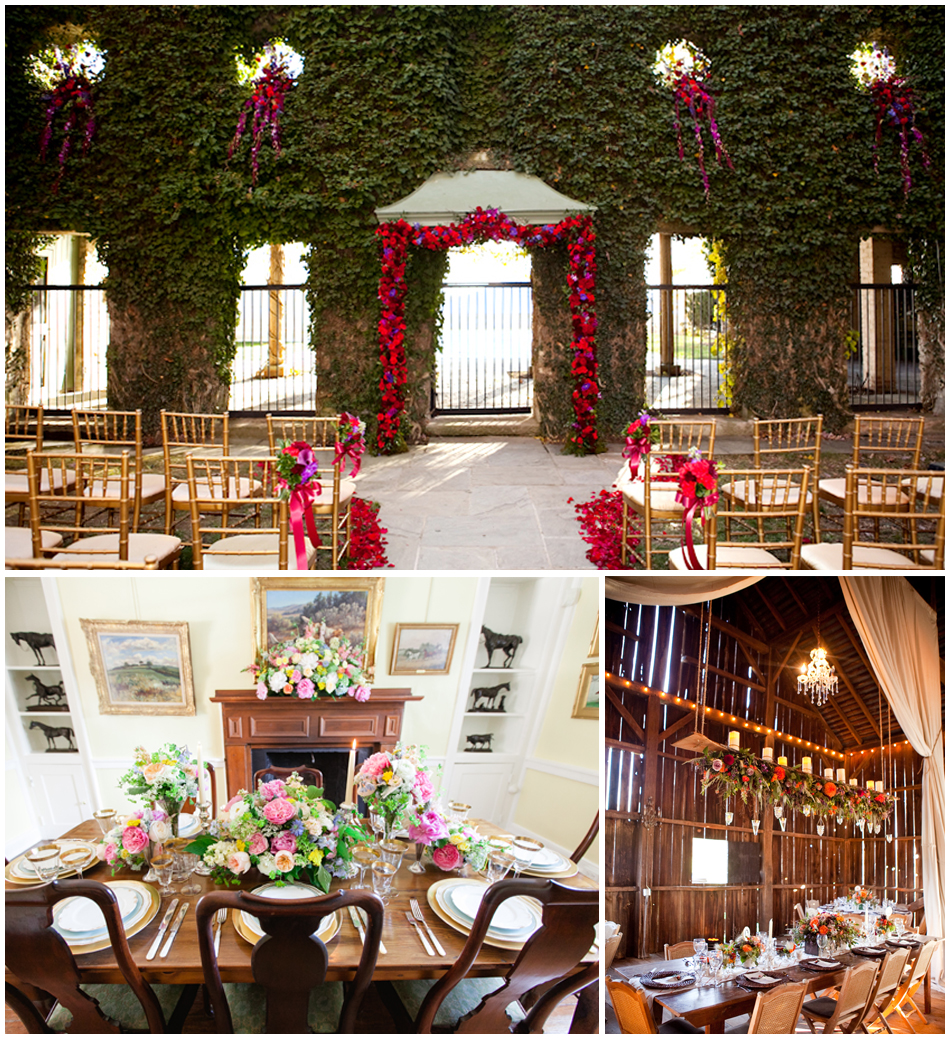 Top    Beautifully bedecked ceremony location, found at Goodstone Inn;    Bottom Left    Red Fox Inn & Tavern is charmingly-appointed with Virginian antiques and works of art;    Bottom Right    Silverbrook Farms' Bed & Breakfast-style charm extends to the quaint barn tucked away on the property; photography by   Genevieve Leiper .