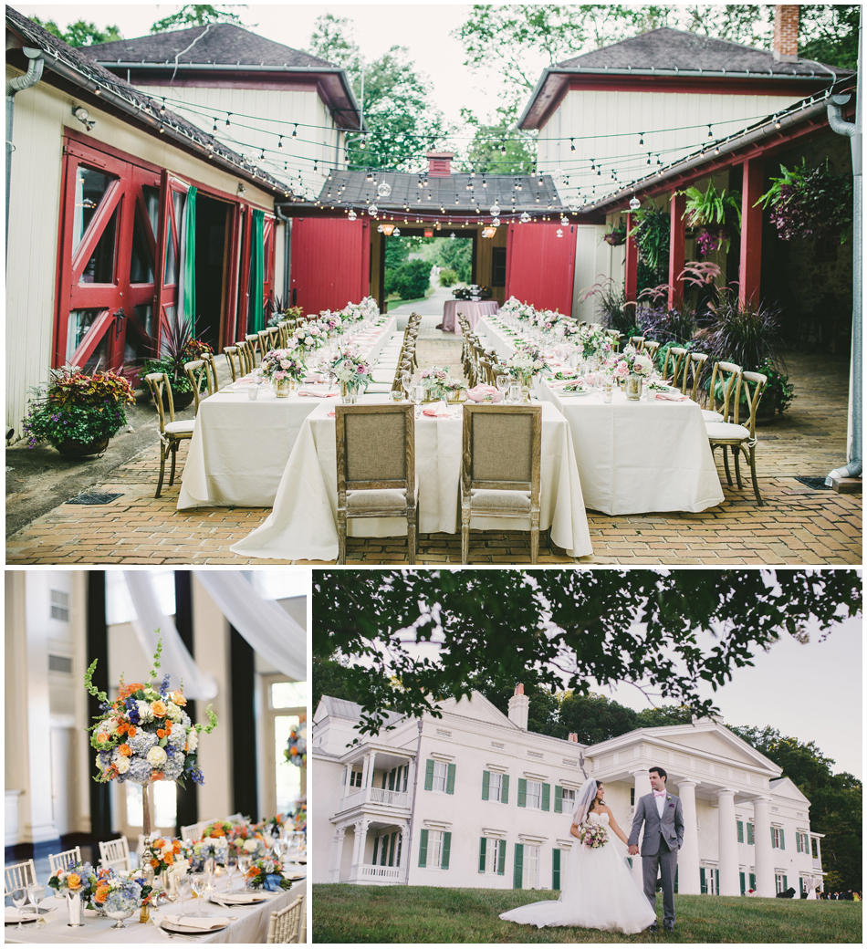 Top    Morven Park is beautifully transformed with gorgeous styling and lighting; photography by   Rebekah J. Murray Photography ;     Bottom Left    The Middleburg Community Center is airy and light for this lovely reception; photography by   Anne Robert Photography ;   Bottom Right   Beautifully-canopied vistas at Morven Park; photography by   Genevieve Leiper Photography  .