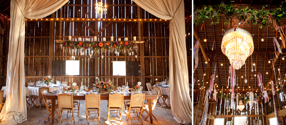 The rustic barn at Silverbrook Farm is wonderfully nostalgic with beautiful opportunities for draping and exquisite lighting. Photos courtesy of  Genevieve Leiper Photography .