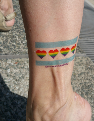 Temporary tattoo designed for the 2015 Pride Parade by Honorary Chicago. Limited edition t-shirts available at local stores.
