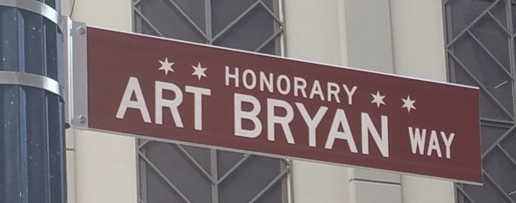 Art Bryan Way on the southeast corner of Ontario and Dearborn, near his venue the Red Head Piano Bar at 16 W. Ontario.