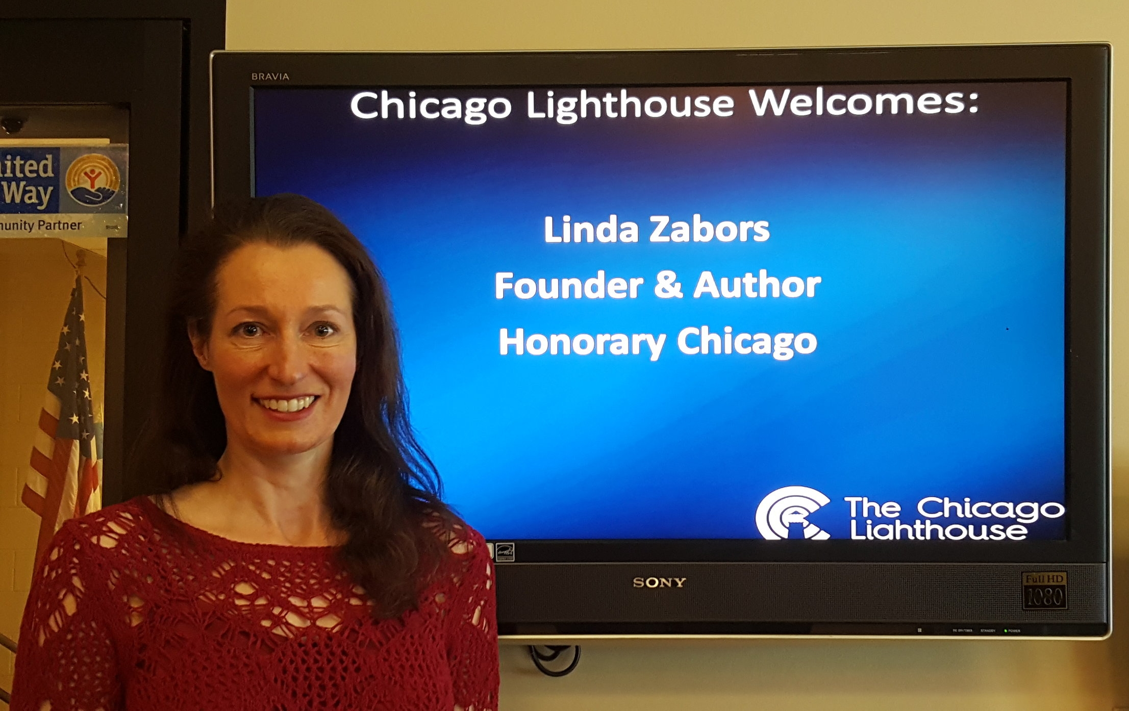 Linda Zabors, author of the Honorary Chicago series, at the Chicago Lighthouse for the Blind