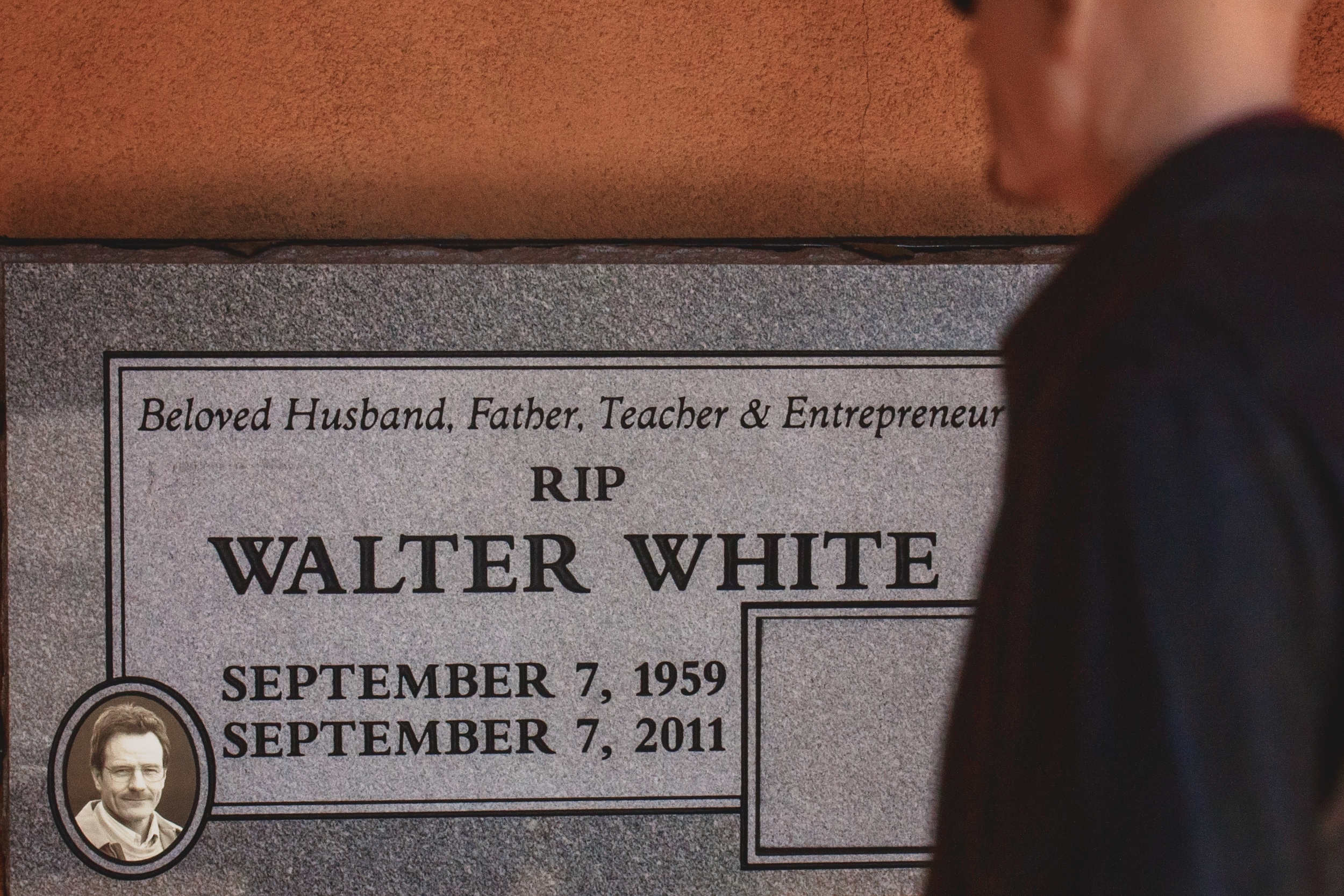 "RIP  The ""Mock funeral"" raised over $17,000 amid quite the  controversy . The headstone was relocated to an out of the way strip mall and placed on an exterior wall. You'd never even see it if you weren't specifically looking for it.   Walter White Headstone  ( 6855 4th St. NW, Albuquerque, NM)"