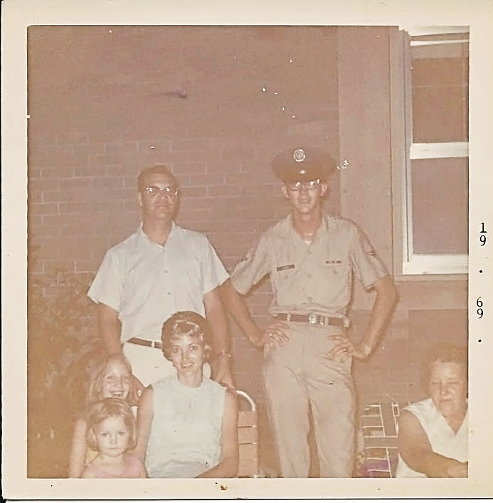 My Aunt Helen and Uncle Don and 2 of my cousins, my real dad and my (grandmother) mom. This would have been shortly before I was born.  Dude looks like Gomer Pile, lol. It's okay, you can laugh. He was/is a really tall, lanky guy and should be instructed to never, ever, stand like that.