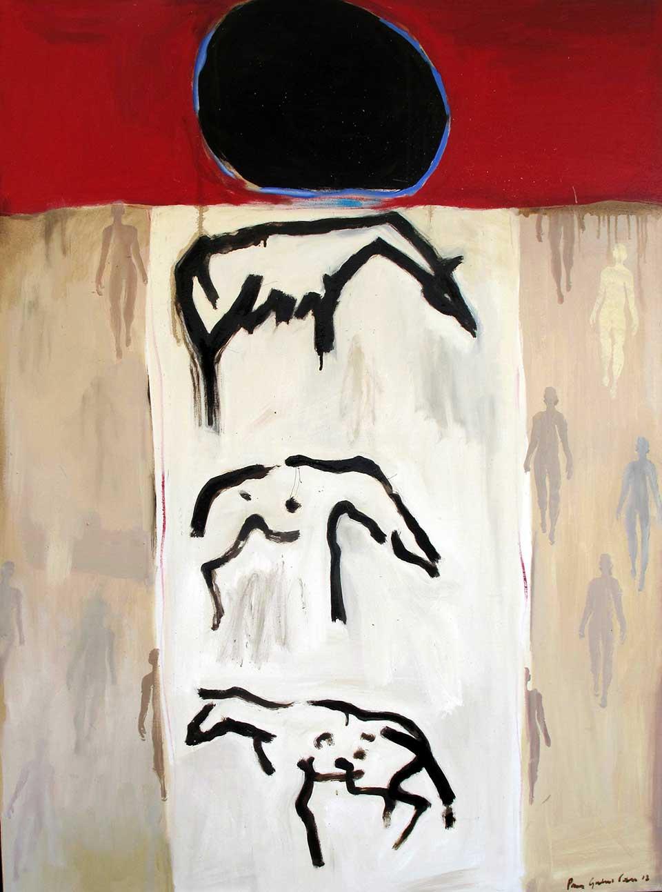 Journey . Oil and tar on canvas. 130 x170 cms (2013)