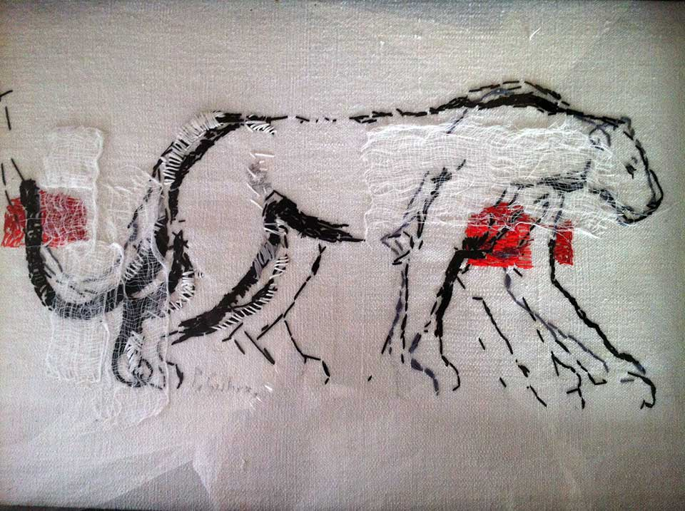 Spirit Lion . Muslin bandage and embroidery silk on fabric. (2010)