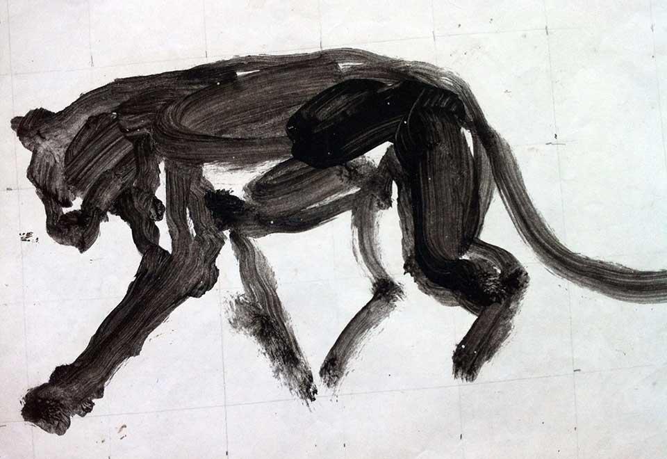 Leopard sketch . Ink on paper. 40x30cms. (2010)
