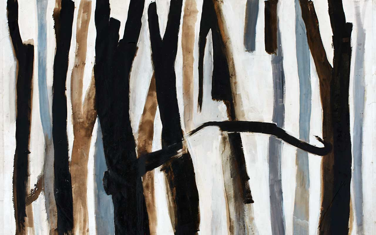 Forest . Oil, tar and lime on canvas. 200 x 350 cm. (2013)