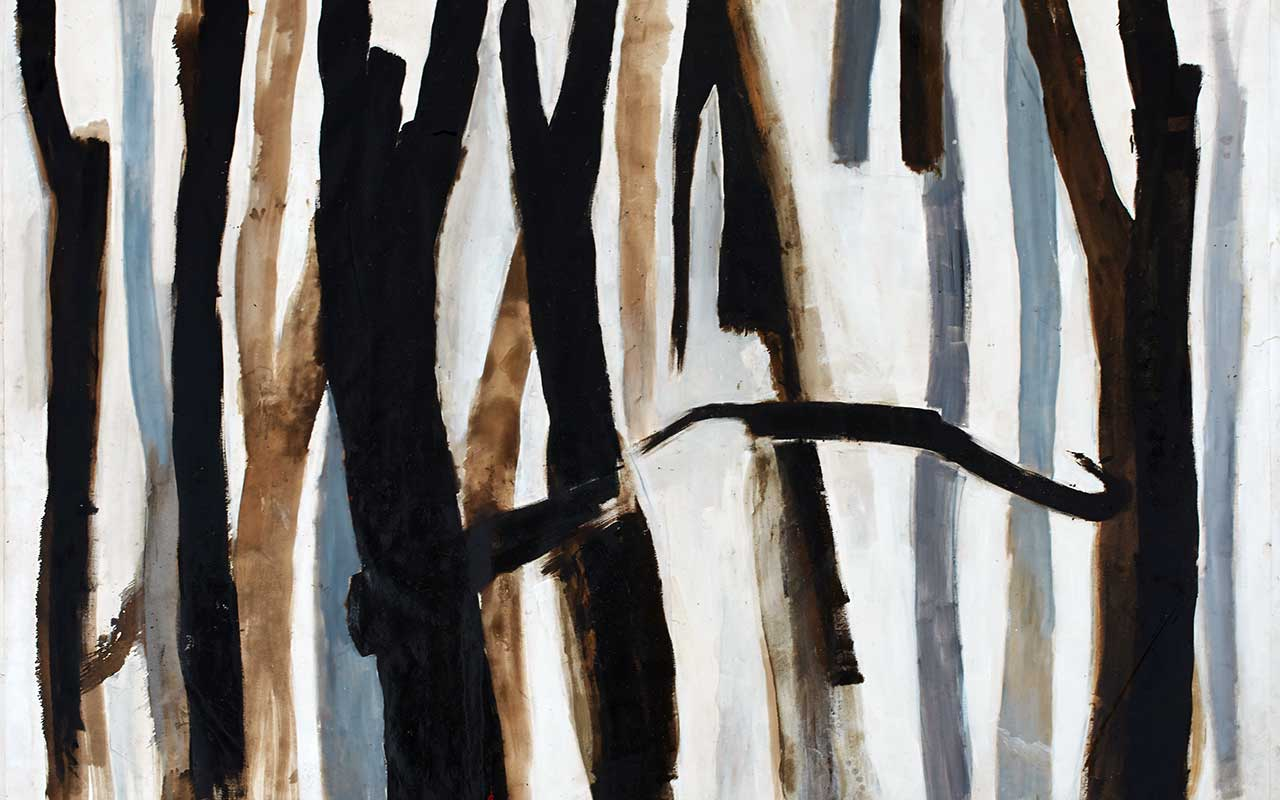 Forest   Tar, oil and lime on canvas 2014