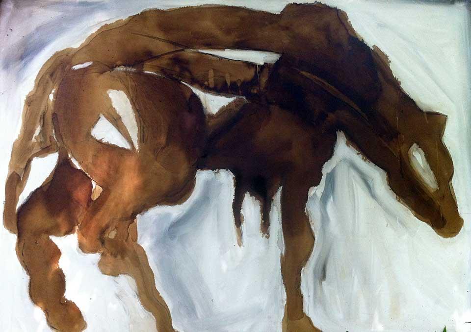 Hyena . Tar, lime and oil on canvas. 170x130cms.(2015)