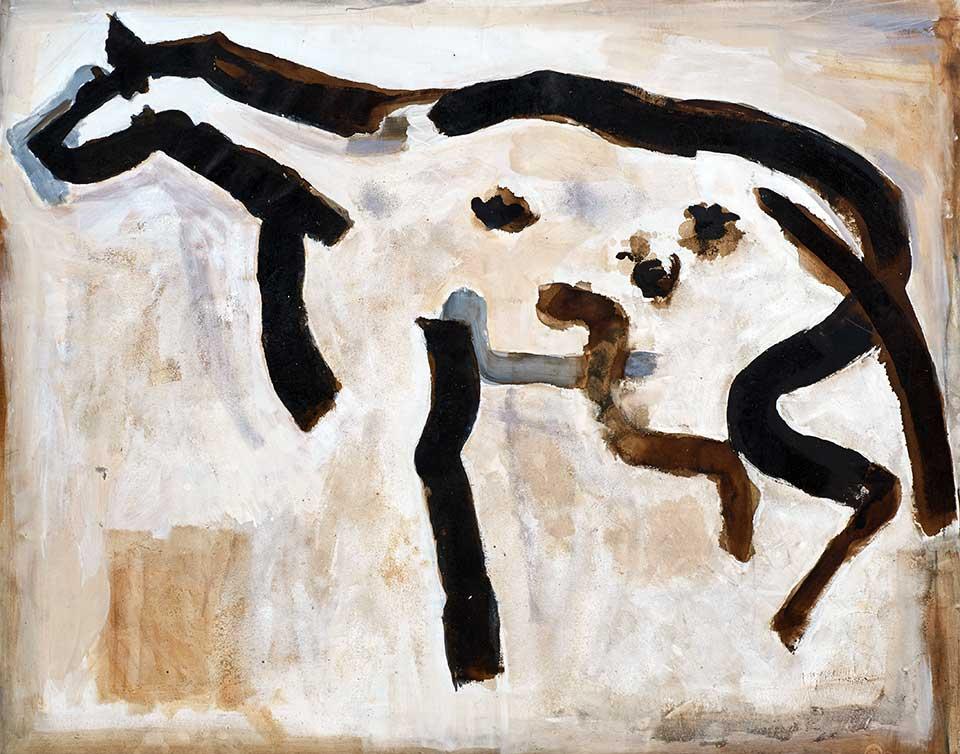 Hyena . Tar, lime and oil on canvas. 170x130cms. (2015)