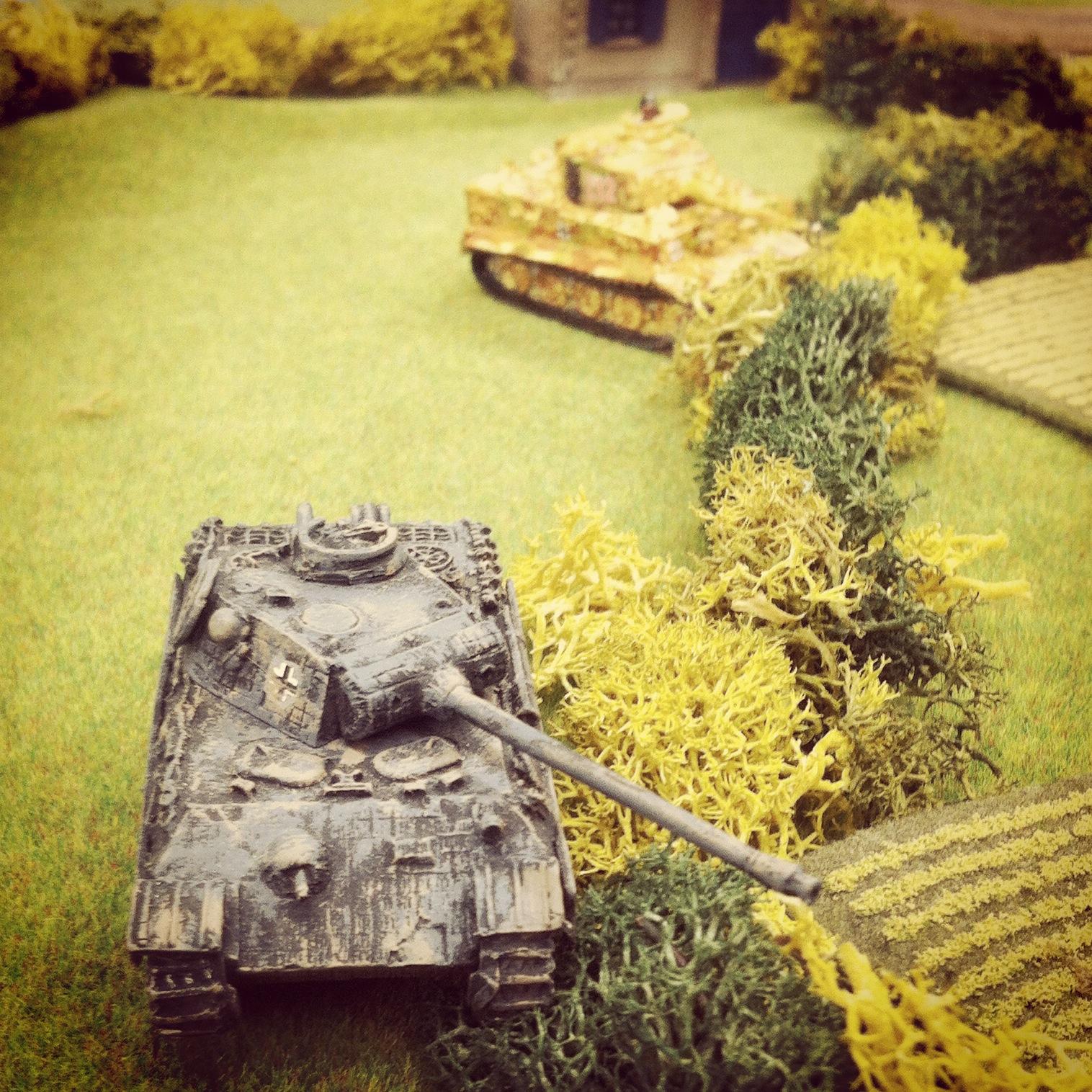 German Panther and Tiger tanks overlook the main road into Saint Lambert-Sur-Dives