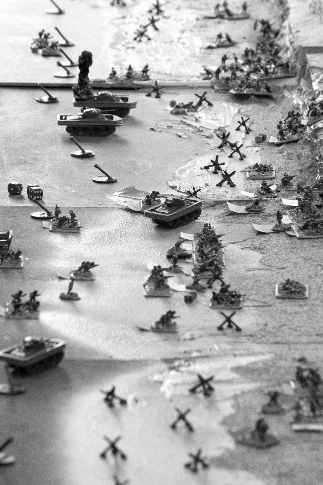 An Allied aerial photograph of the beach as the US assault goes in.