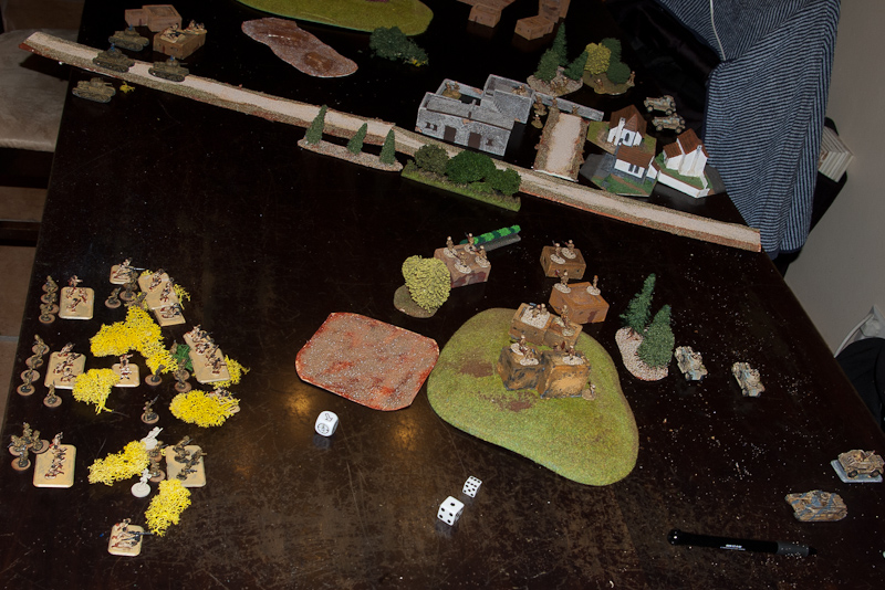 Just before the stonk arrives, Italian troops prepare to launch their attack from relative safety of dry brushes. Brits know something is about to happen as tanks are reported along the muddy road.